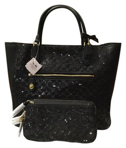 Coach Poppy Blair Sequins Crossbody Tote in Black