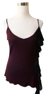 Morgan de Toi Asymmetrical Hem Velvet Accent Top Brown
