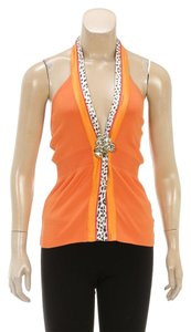 Roberto Cavalli Orange Halter Top