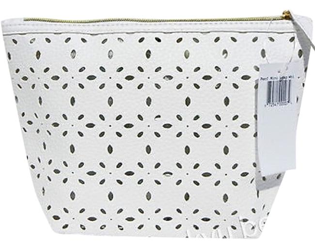 Item - White Leather Perforated Cosmetic Bag