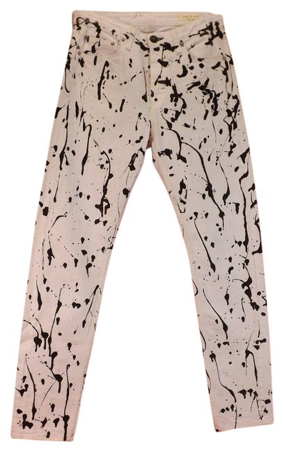 Item - White Light Wash Animal Acid Mum Abstracted Pants Skinny Jeans Size 25 (2, XS)
