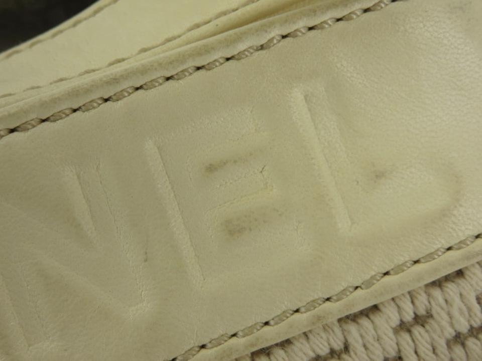 ecfbe05d23c3 Chanel Woven Chain Tote 205723 Ivory Leather Shoulder Bag - Tradesy