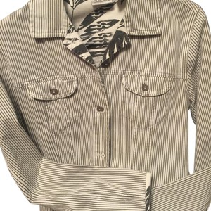 Chico's Button Down Shirt White w/grey stripes.