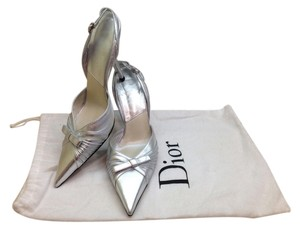 Dior Slingback Leather Silver Pumps