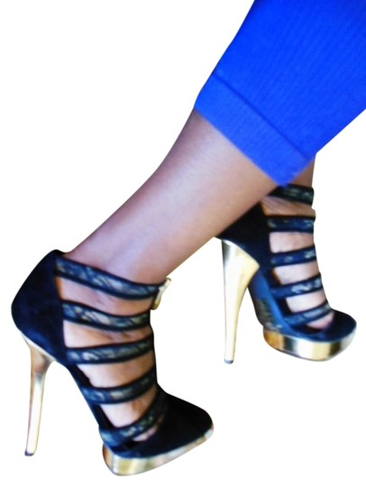 ShoeDazzle Nene Leakes Housewives Of Atlanta Nethia Heels Caged Bootie And Lace Lace Trim 5 Inch Velvet Velour Dazzle New 8.5 Black & Gold Platforms