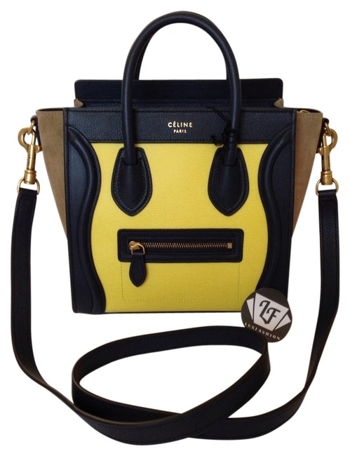 Item - Nano Tricolor Fluo Yellow Leather Cross Body Bag