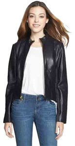 Tahari Genuine Lamb Leather Leather Tab Collar Butter Soft Fully Lined Leather Jacket