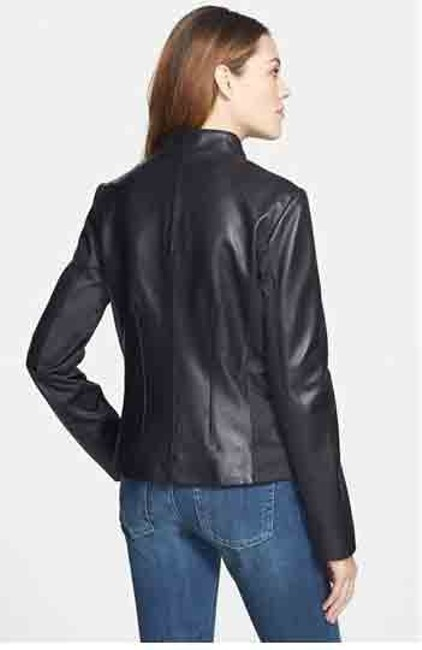 Tahari Genuine Lamb Tab Collar Butter Soft Fully Lined Leather Jacket