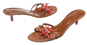 Valentino Brown/Coral Sandals