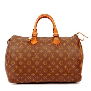 Louis Vuitton Monogram Canvas Speedy Leather Satchel in Brown
