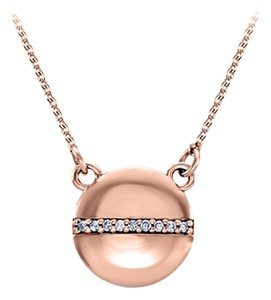 LoveBrightJewelry Circle Necklace Row of CZ in Center Rose Gold Vermeil