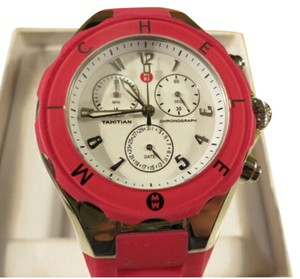 Michele MICHELE TAHITIAN JELLY BEAN BRIGHT PINK SILICONE WATCH 40MM