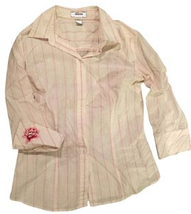 Express Button Down Shirt White pink