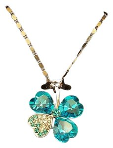 Other Good Luck Crystals four leaf clover necklace Blue and Silver