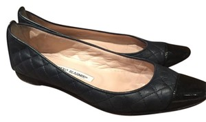 Manolo Blahnik Quillted and Patented toe Black Flats