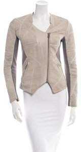 Yigal Azrouël Azrouel Womens Leather Beige / Bone Leather Jacket