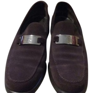 Gucci Suede Front Plaque Brown Flats