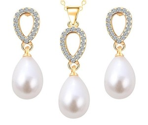 Bridal Faux Pearl Drop Gold Plated Set