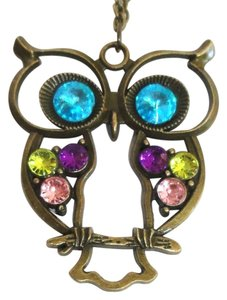 Unknown Bronzed Owl Pendant Long Crystal Colorful Necklace Antique style NEW Jewelry