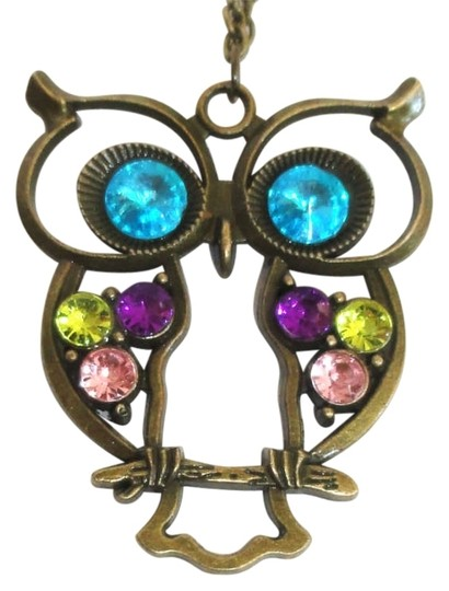 Preload https://item4.tradesy.com/images/bronzed-owl-pendant-long-crystal-colorful-antique-style-new-necklace-171388-0-0.jpg?width=440&height=440