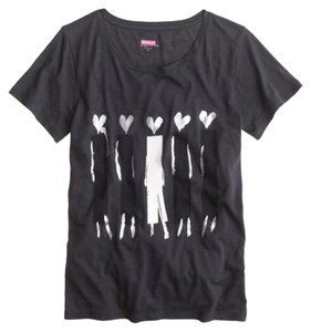 Donald Robertson for J. Crew J. Tee J. Novelty Headed Woman T Shirt Charcoal