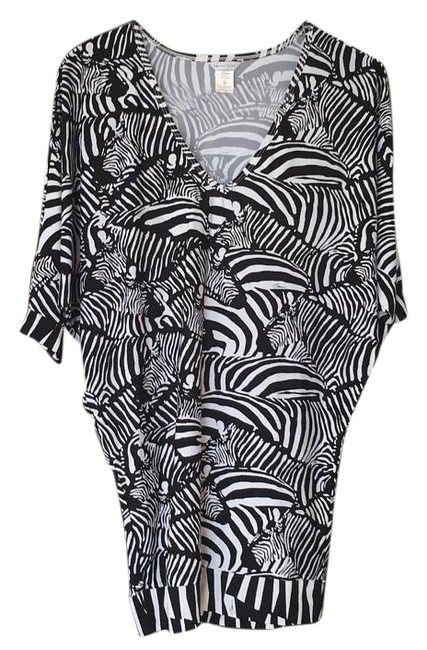 Item - Black/White Tunic Top Cover-up/Sarong Size 2 (XS)