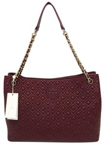 Tory Burch Leather Chain Handles Shoulder Tote in Red Agate
