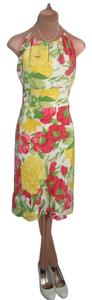 Ann Taylor LOFT short dress YELLOW RED MULTI FLORAL PRINT SILK Lovely Excellent Cond Quality Excell. Tailoring Halter on Tradesy