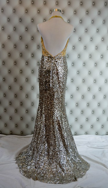 Kari Chang Couture Evening Gown Prom Pageant Sequin Halter Dress