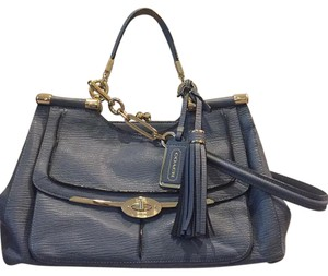 Coach Gold Hardware Strap Satchel in Blue