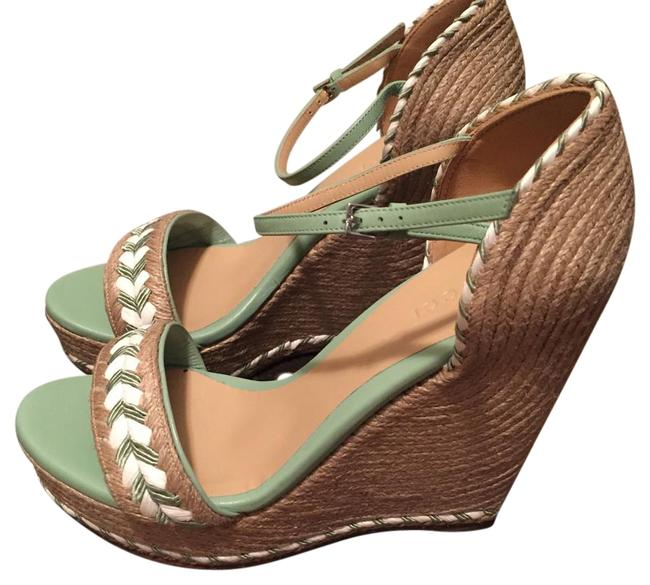 Item - Natural / Green / White 370496 Tiffany Espadrille Sandals 38 Us8 Wedges Size US 8 Narrow (Aa, N)