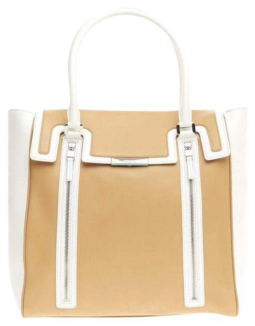 Item - Celia White and Yellow Leather Tote