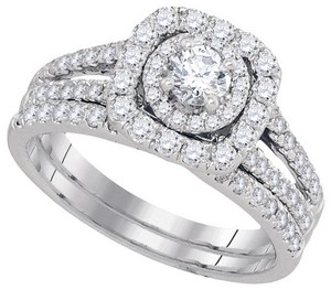 Ladies Luxury Designer 14k White Gold 1.50 Cttw Round Diamond Engagement Ring Fashion Bridal Set