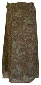 Other Dressy Maxi Skirt Muted Green and Burgundy Paisley