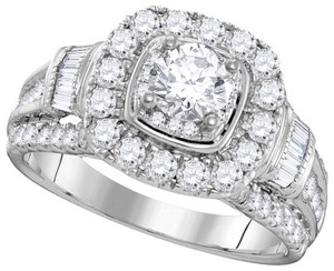 Ladies Luxury Designer 14k White Gold 2.00 Cttw Round Diamond Engagement Ring Fashion Bridal Set
