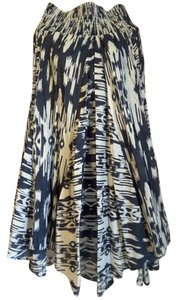 Chelsea & Theodore Unlined Hem Maxi Skirt Dark Blue, Black and White Tribal Print