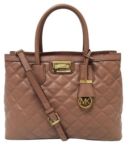 Michael Kors Hannah Quilted Leather Satchel in Dusty Rose
