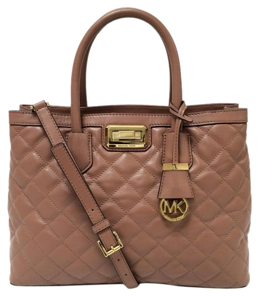 0d0f2f63812b50 Michael Kors Hannnah Large Smooth Dusty Rose Quilted Leather Satchel ...