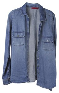 Velvet by Graham & Spencer Jean Jean Jean Button Down Shirt Jean Blue