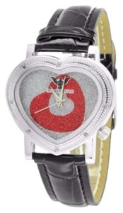 Womens Heart Dial Red White Iced Out Diamond King Watch Kc Jojo Leather Strap