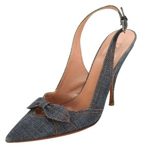 ALAÏA Denim Slingback Bow Pumps