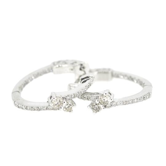 Other 14K White Gold 0.80Ct Diamond Hoops 5.6 Grams Image 1