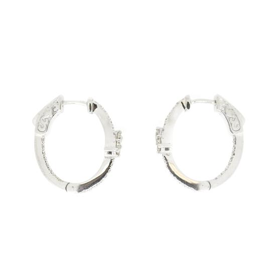 Other 14K White Gold 0.80Ct Diamond Hoops 5.6 Grams Image 2