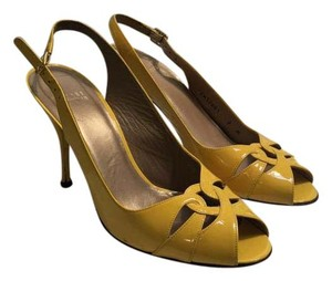 Stuart Weitzman Leather Pumps Heels Peep Toe Yellow Formal