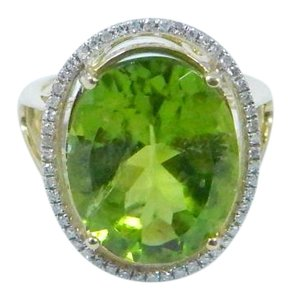 Other ELEGANT ROUND SHAPE MM STARBURST CUT PERIDOT RING 15 CT. 0.52 (TOTAL) DIAMOND SURROUNDING MAIN STONE IN SHANK/SPLIT-SHANK 14KT WHITE GOLD