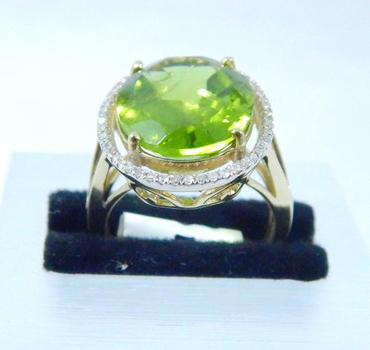 Other ELEGANT ROUND SHAPE MM STARBURST CUT PERIDOT RING 15 CT. 0.52 (TOTAL) DIAMOND SURROUNDING MAIN STONE IN SHANK/SPLIT-SHANK 14KT WHITE GOLD Image 1