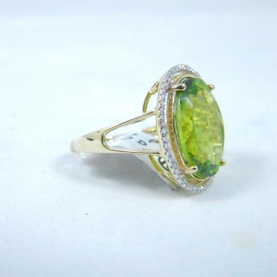 Other ELEGANT ROUND SHAPE MM STARBURST CUT PERIDOT RING 15 CT. 0.52 (TOTAL) DIAMOND SURROUNDING MAIN STONE IN SHANK/SPLIT-SHANK 14KT WHITE GOLD Image 2