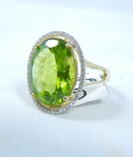 Other ELEGANT ROUND SHAPE MM STARBURST CUT PERIDOT RING 15 CT. 0.52 (TOTAL) DIAMOND SURROUNDING MAIN STONE IN SHANK/SPLIT-SHANK 14KT WHITE GOLD Image 3