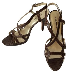 BCBGMAXAZRIA Crocodile Embossed Slingback Brown Sandals