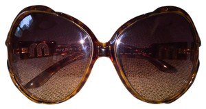 Miu Miu Miu Miu Brown Gold Tortoise Oversized Varied Sunglasses SMU05i 2AU-1Z1